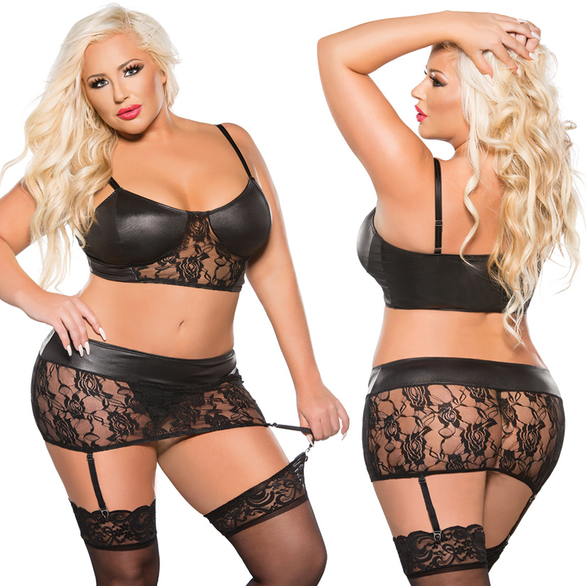 Allure Kitten Wet Look & Lace Top and Garter Skirt Set -Black O/S