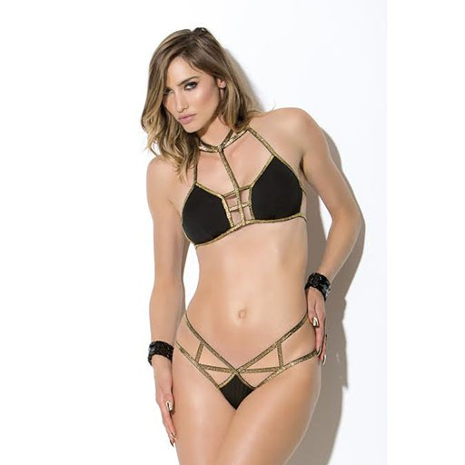 Hauty Hauty Metallic Black Bra set