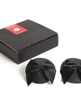 Bijoux Indiscrets Bijoux Indiscrets Burlesque Pasties - Black Glitter and Bow