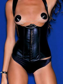 Hauty Hauty Faux Leather Open Cup Corset