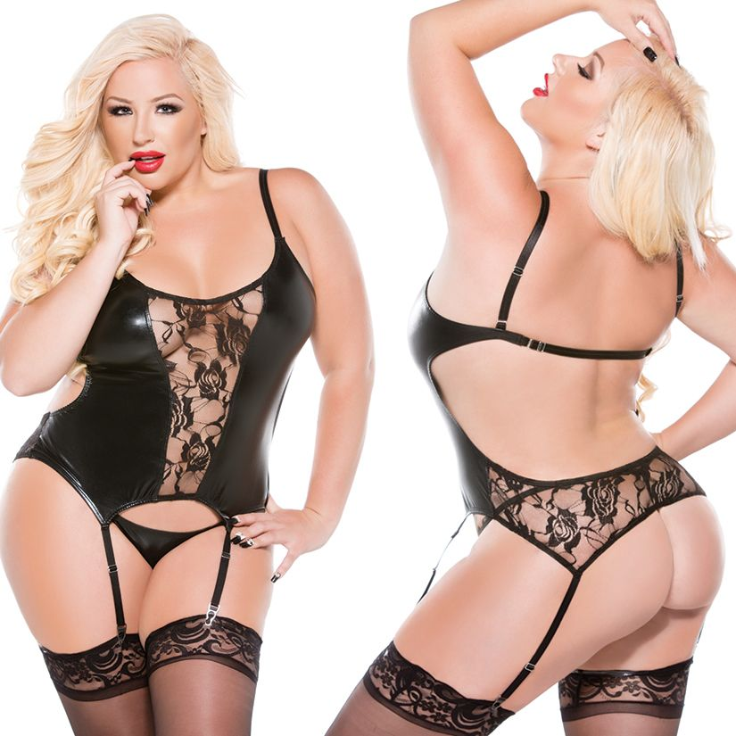 Allure Kitten Wetlook Corset, OS/X