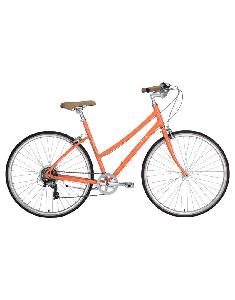 Civia Lowry Step Thru 7-Speed Bike: Orange/Coconut White LG