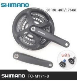Shimano Shimano Tourney M131 6/7/8-Speed 170mm 28/38/48t Square Crankset with Chainguard, Silver/Black
