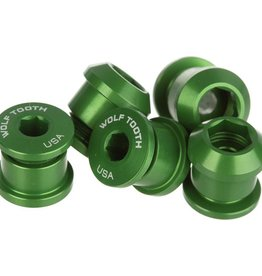 Wolf Tooth Components Set of 4 Chainring Bolts for 1x use, Dual Hex Fittings, Green