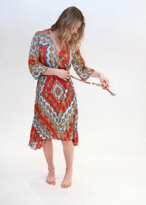 DEX Dex Chain Print Midi Dress