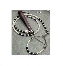 Luxury Crystal Pearl Pet Collar-Leash Set. Long