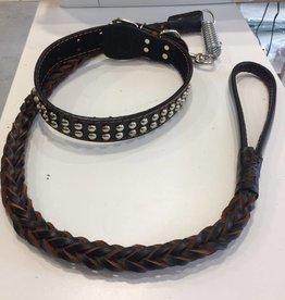 Large Dog Collar & Leash. Handmade. Shock Spring