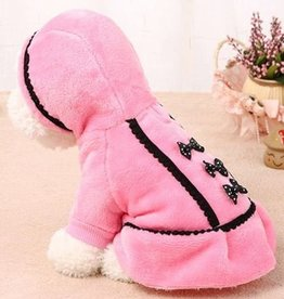 Warm Hooded Dog Sweater-Fleece with Bow