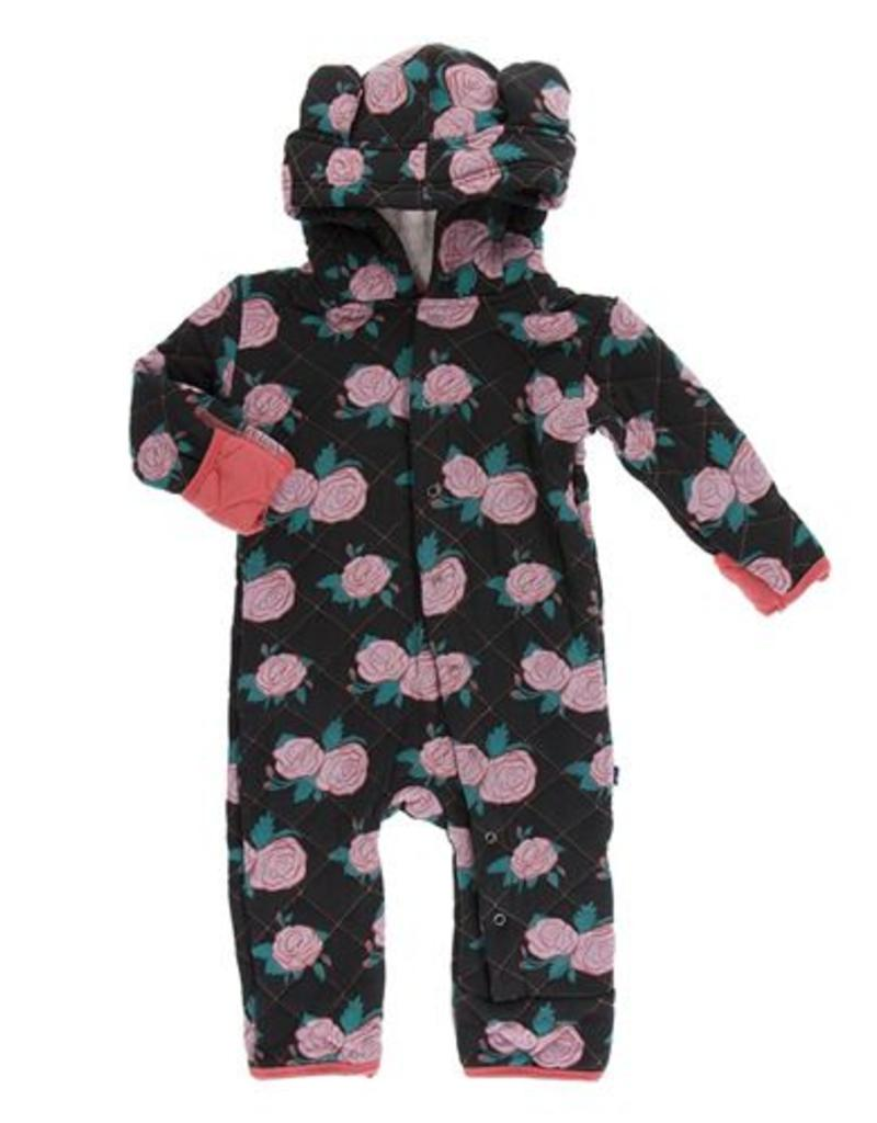 Kickee Pants Printed Rose Garden Quilted Hoodie Coverall