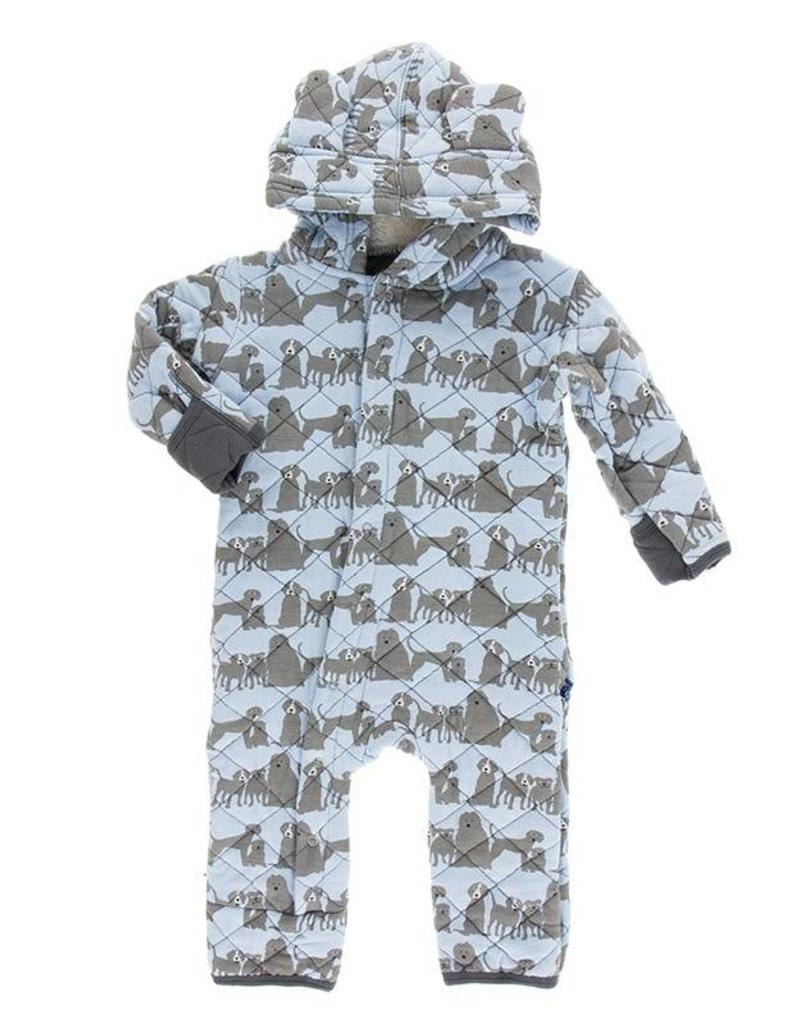 Kickee Pants Stone London Dogs Quilted Hoodie Coverall