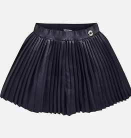 Mayoral USA Navy Leather Pleated Skirt