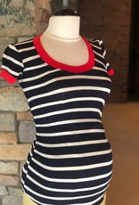 Navy Ivory Stripe Hailey Top  XS