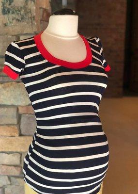 Navy Ivory Stripe Hailey Top  XL