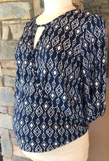 Navy Ikat Kylie Top  XL
