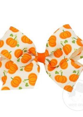 Pumpkin Halloween Print Bow
