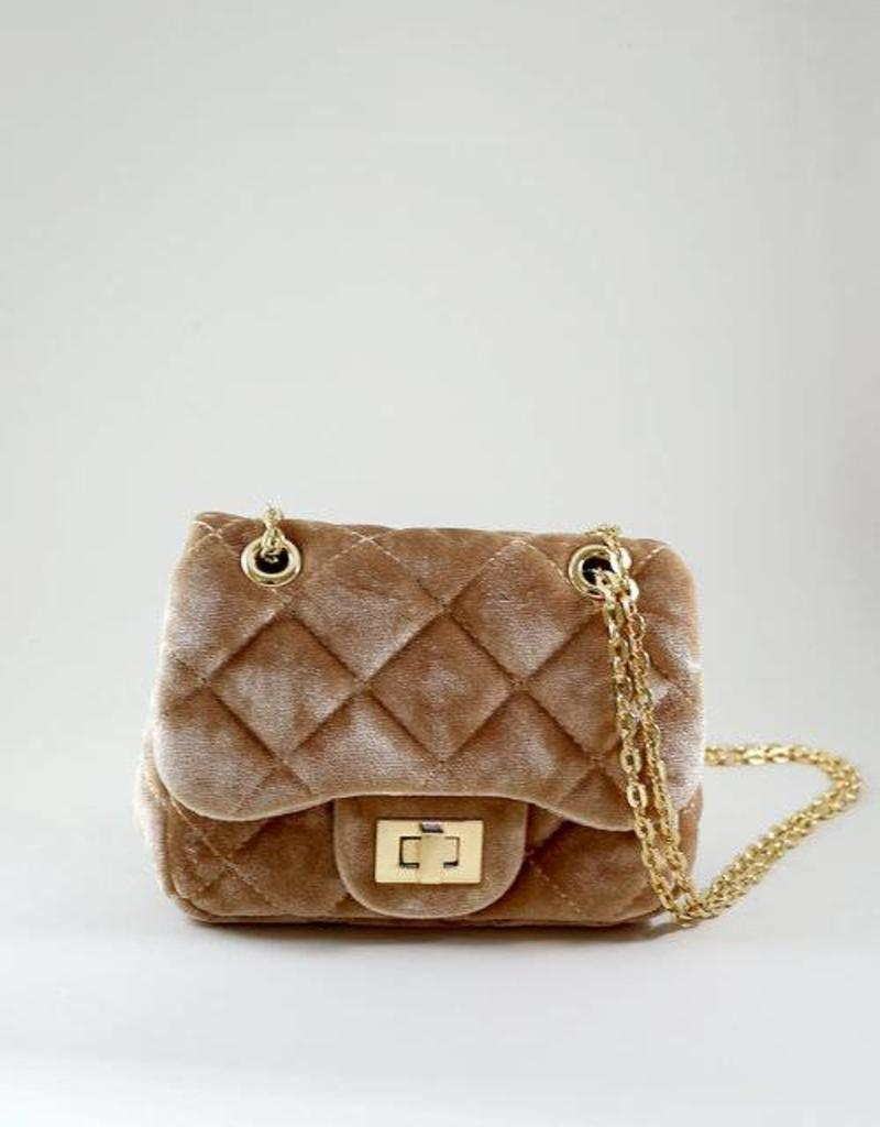 Mae Li Rose Tan Velvet Quilted Purse