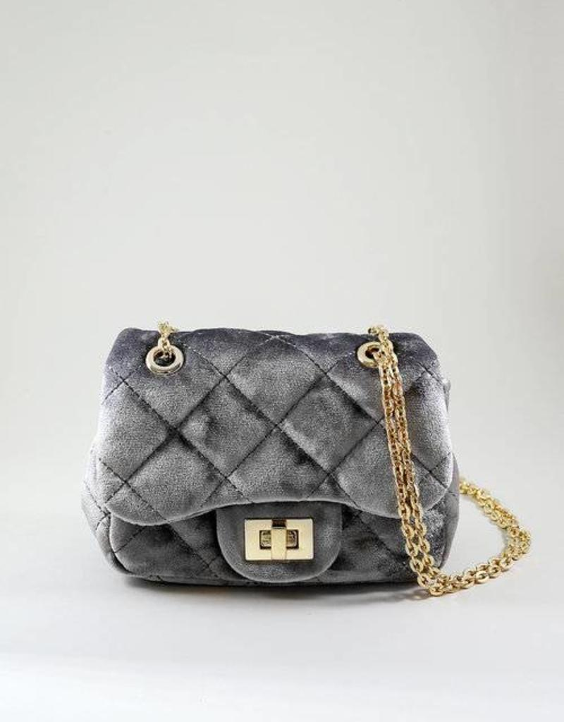 Mae Li Rose Gray Velvet Quilted Purse