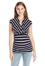 Navy Ivory Stripe Megan Top  XL