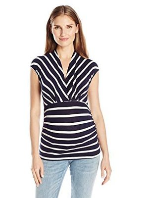 Navy Ivory Stripe Megan Top  XL