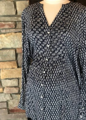 Navy Ecru Fern Aztec Blouse  XL