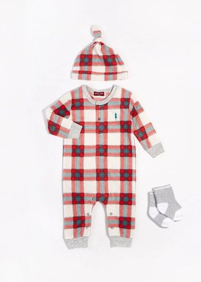 Petit lem Red Plaid 3PC Playsuit Set