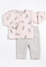 Petit lem pink and grey reversible jacket set