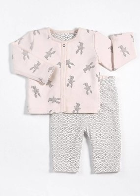 Petit lem pink and grey reversible jacket set