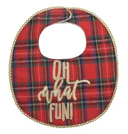 Oh What Fun Tartan Plaid Bib