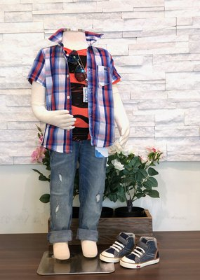 Mayoral USA Red Blue Checked S/S Shirt