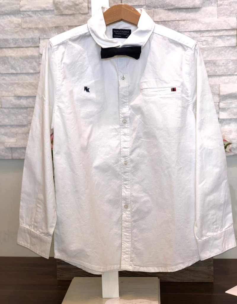 Mayoral USA White LS Oxford with Navy Bow Tie