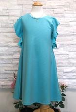 Deux Par Deux Blue Curacao Sparkling Jersey Dress