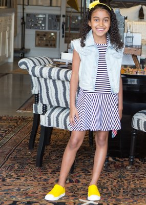 Deux Par Deux Black & White Striped Dress
