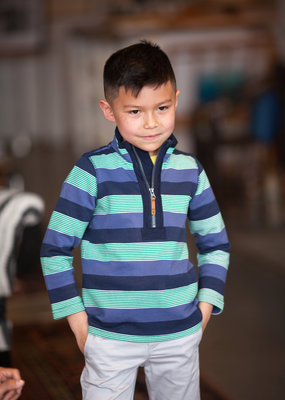 Little Joule Navy Green Half Zip Sweatshirt