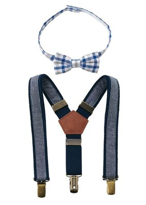Chambray Bow Tie and Suspender Set