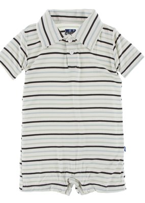 Kickee Pants Tuscan Afternoon Stripe Polo Romper