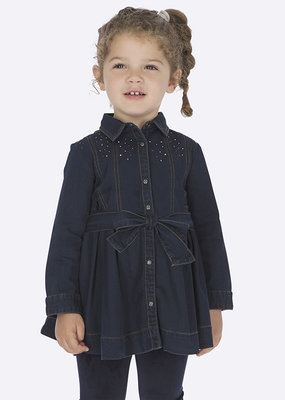Mayoral USA dark denim belted dress
