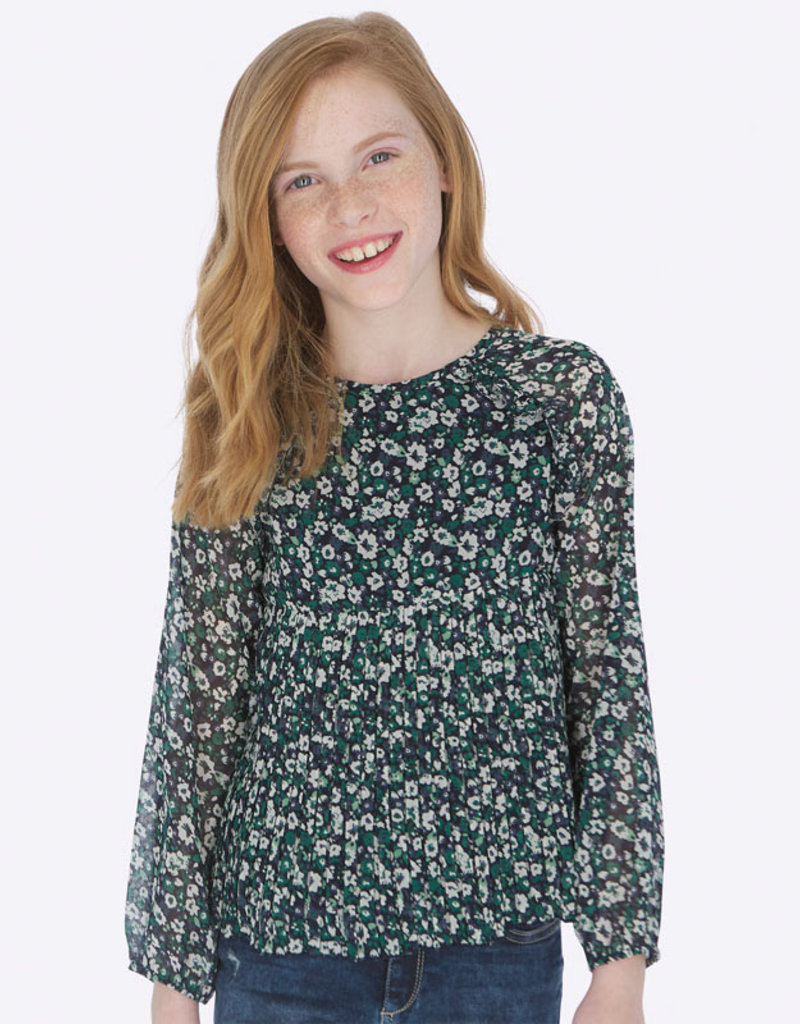 Mayoral USA green floral pleated blouse