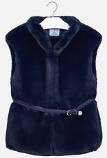 Mayoral USA navy fur vest with belt