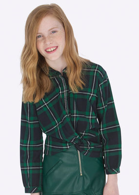 Mayoral USA green plaid twist waist blouse