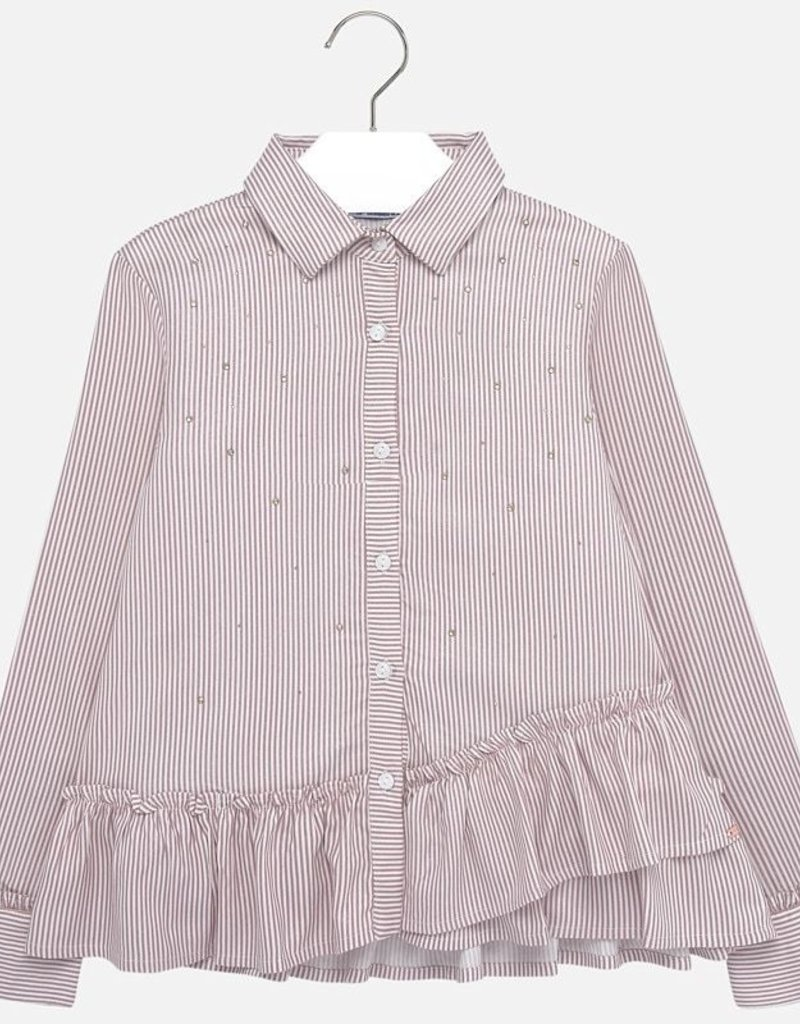 Mayoral USA mauve stripe rhinestone blouse