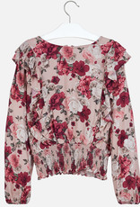 Mayoral USA pink floral ruffle blouse