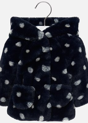 Mayoral USA navy white dot furry coat