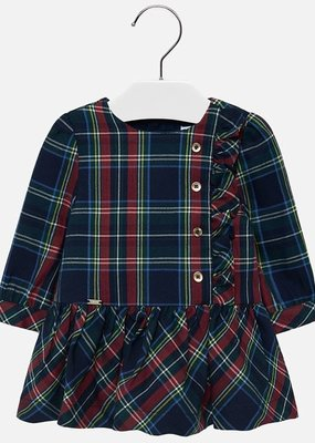 Mayoral USA tartan plaid side button dress