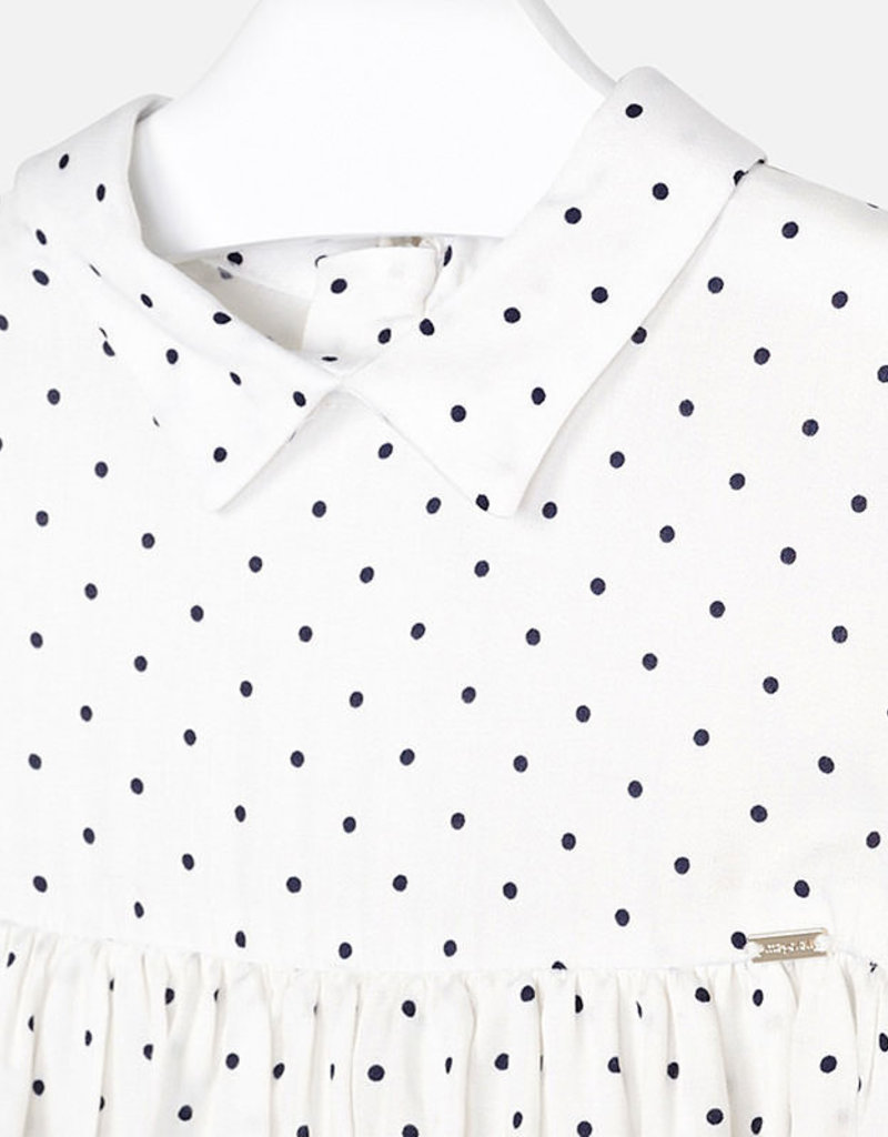 Mayoral USA white with blue dots blouse