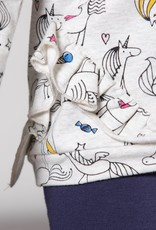Deux Par Deux Unicorn Print French Terry Top