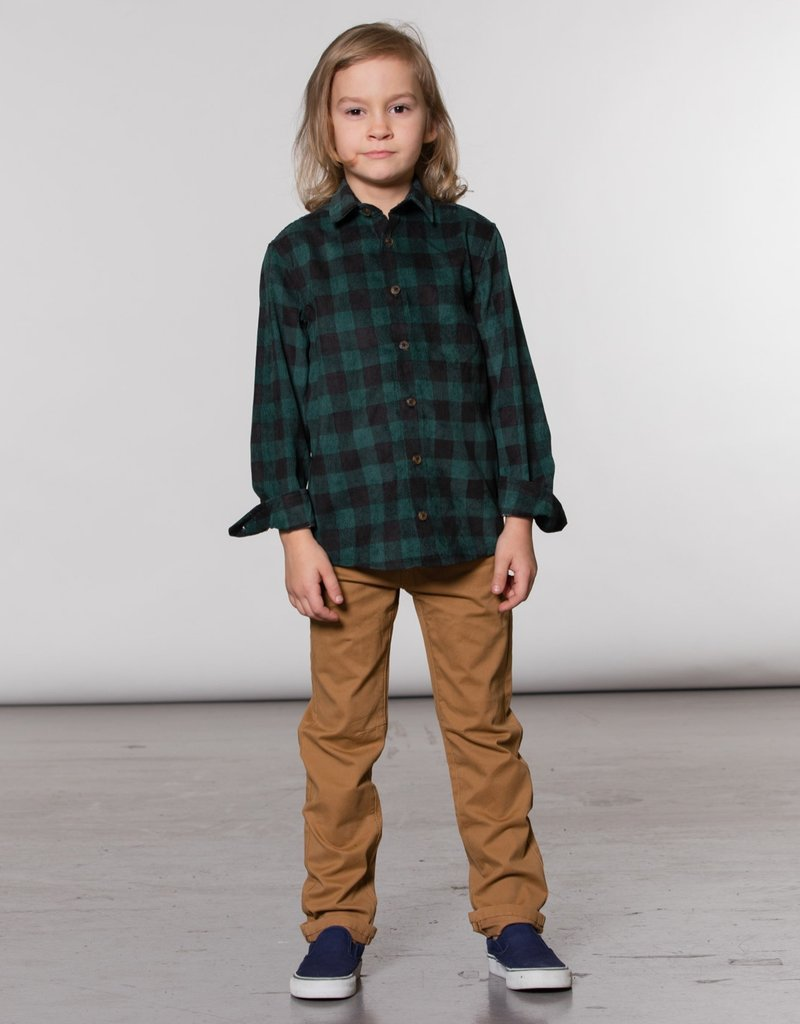 Deux Par Deux Green Plaid Corduroy Shirt