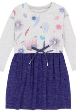 Deux Par Deux Deep Ultramarine Butterfly Print Dress