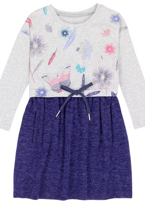 Deux Par Deux Deep Ultramarine Butterfly Print Dress