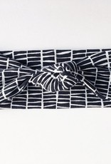 Macie & Me Black and Off White Stripe Top Knot Headband