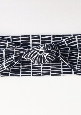Macie & Me Black and Off White Stripe Top Knot Headband